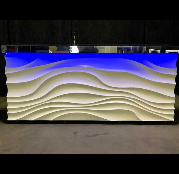 Party Perfect Rentals - Wave Bar with Silver Top and LED Lighting